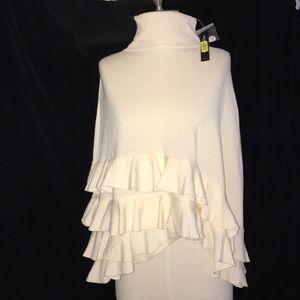 NWT ANTONIA MELANIE Poncho Style Sweater OS Creme